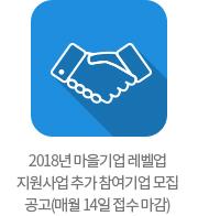 2018년 마을기업 레벨업 지원사업 추가 참여기업 모집 공고(매월 14일 접수 마감)
