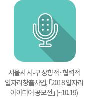 서울시 시-구 상향적·협력적 일자리창출사업, 「2018 일자리 아이디어 공모전」 (~10.19)